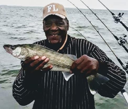 Butch catches the first walleye ever for him
